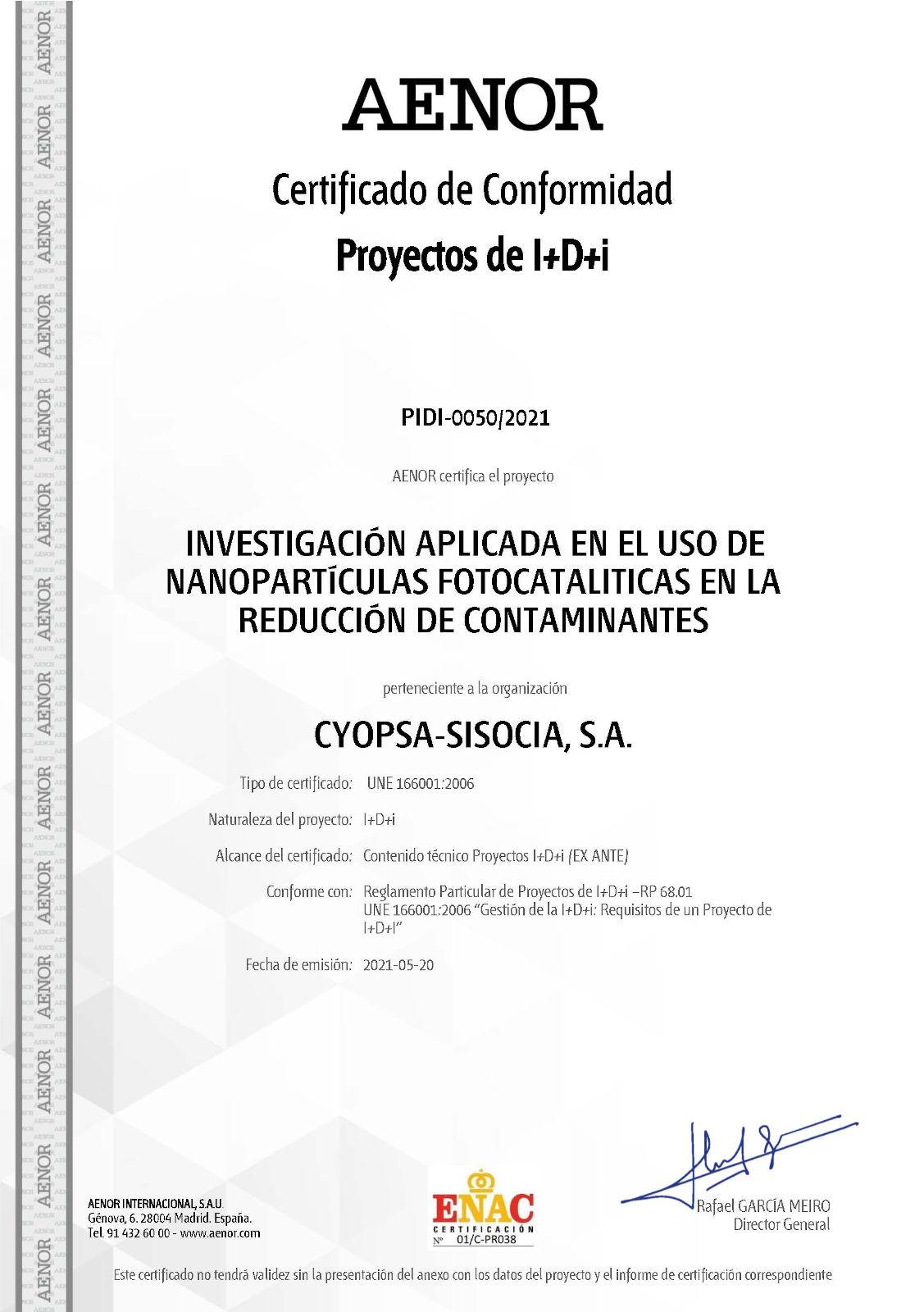 Cyopsa-Sisocia consigue el certificado ex-ante AENOR para un proyecto de investigación aplicada a la carretera