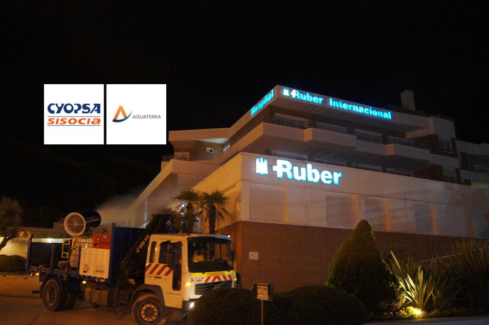 Los camiones de desinfección de Cyopsa y Aquaterra ayudan a esterilizar el hospital Ruber de Madrid